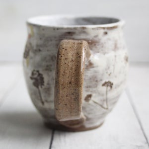 Image of Nature Mug with Pressed Clover Flowers, 14 oz. Rustic Pottery Mug, Made in USA