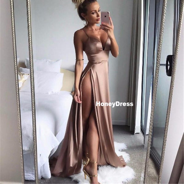 Image of Champagne Spaghetti Straps Silk Satin V-Neck Long Maxi Dress, Prom Party Dress With Double Side Slit
