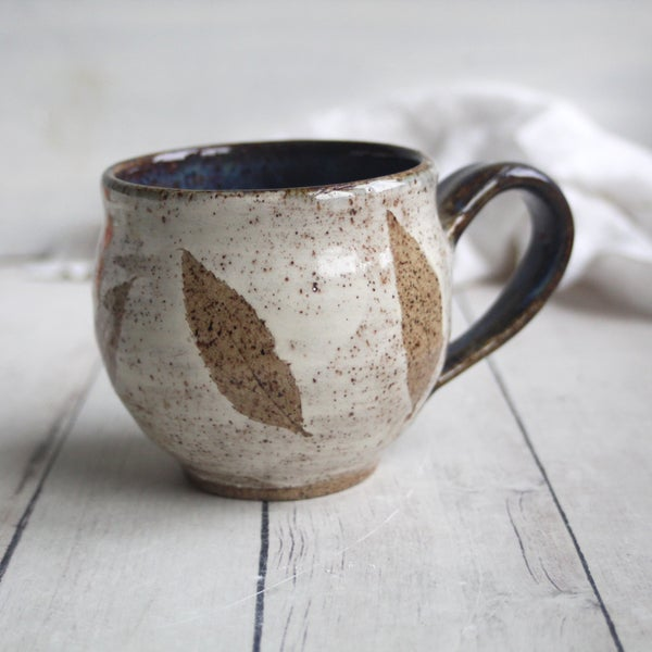Image of Nature Mug with Pressed Leaves, Handcrafted Pottery Mug, Rustic Earthy Design, Made in USA