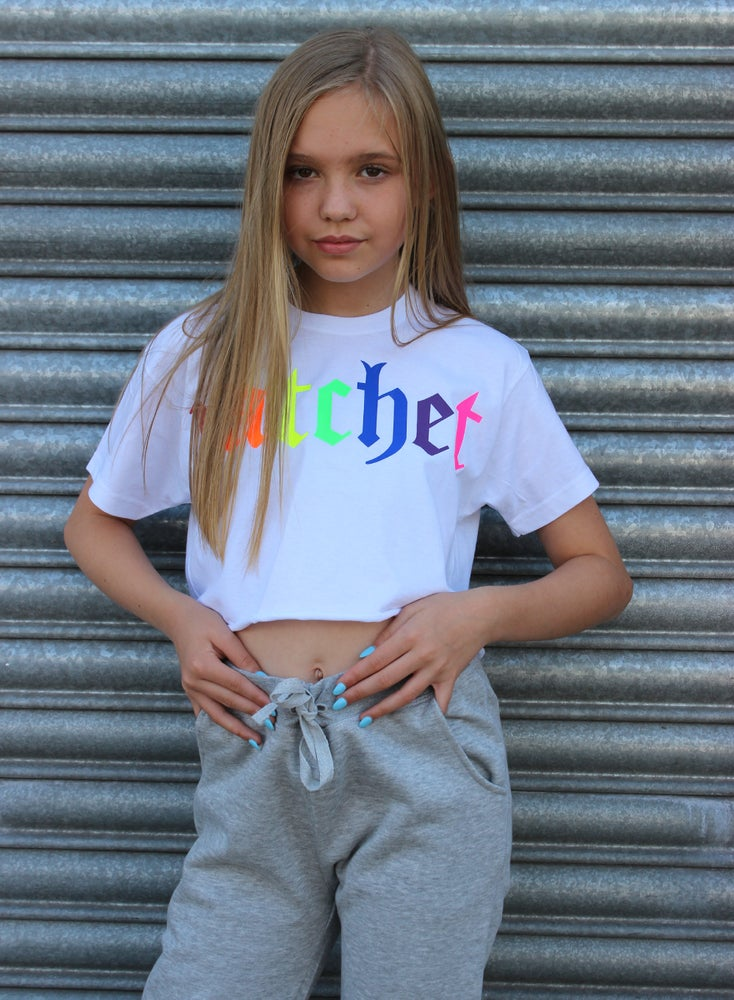 Image of JUNIOR WHITE  MULTI PRINT CROP TEE