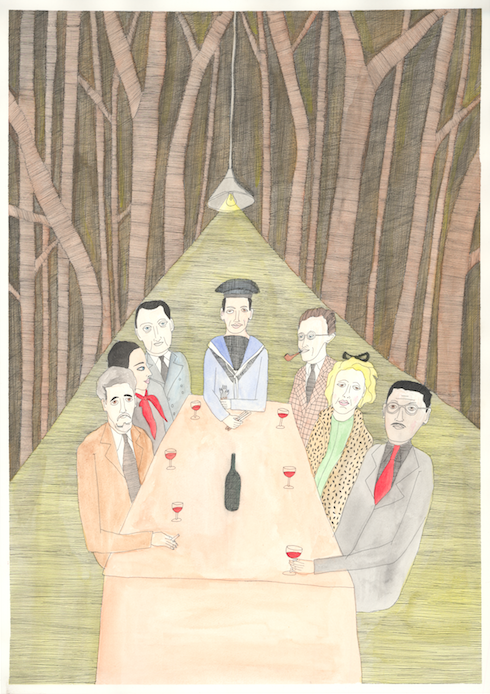 Image of A Surrealist meeting in an upper room of the Barcelona restaurant in Beak Street.