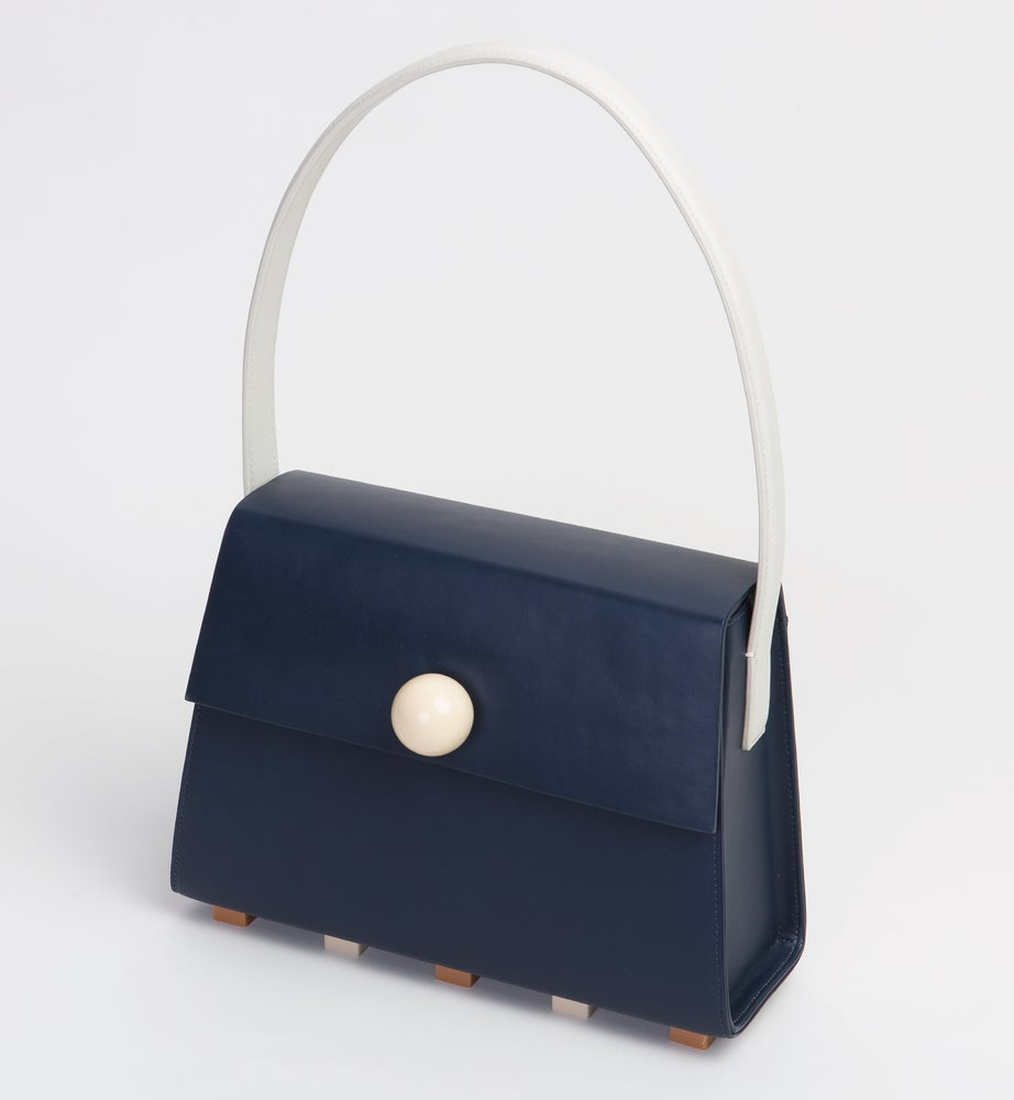 Image of Long Trapezoid satchel bag • Navy with Top Handle