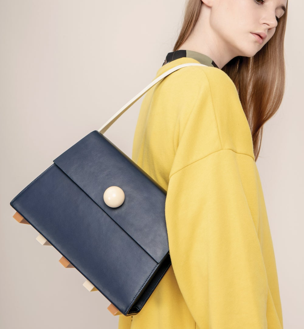 Long Trapezoid satchel bag • Navy with Top Handle