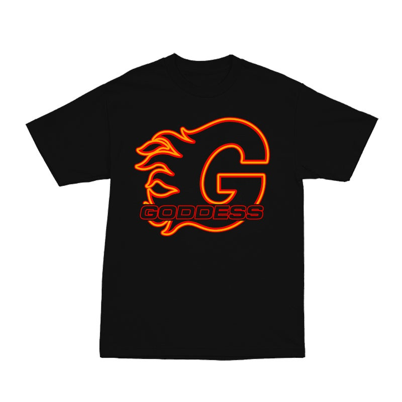 Image of GODDESS ON FIRE BLACK TEE | EXCLUSIVE GODDESS SUMMER COLLECTION