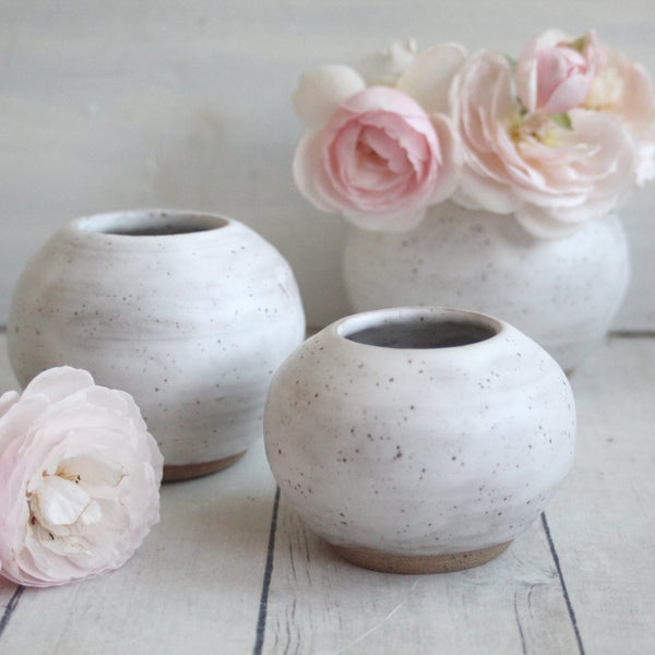 Image of Set of Three Round Vases in Matte White Glaze, Speckled Stoneware, Made in USA