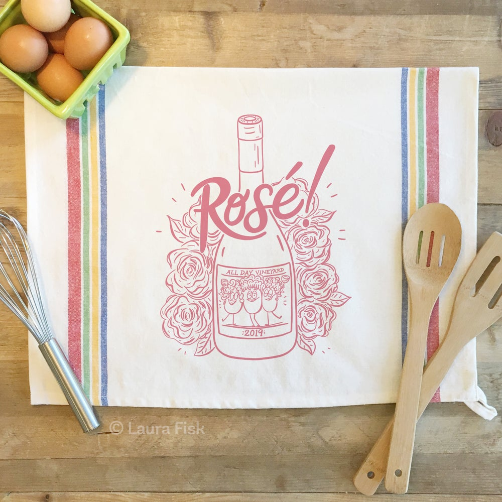 Image of Rosé Wine Funny Food Tea Towel