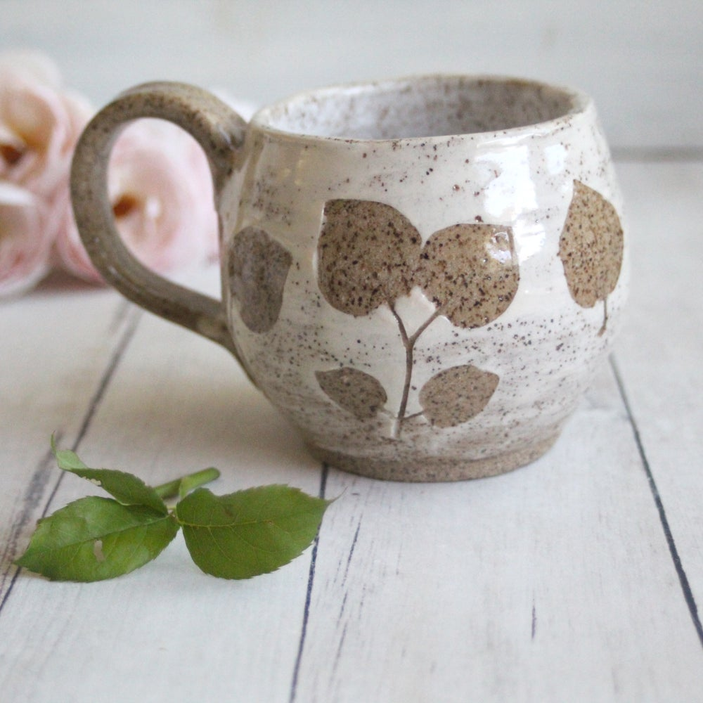 Image of Pressed Leaves Nature Mug, Handcrafted Pottery Coffee Mug, Made in USA