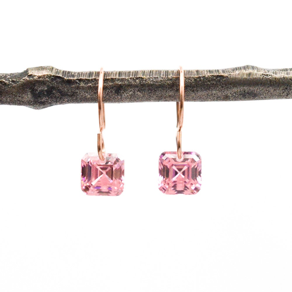 Image of Asscher cut pink cubic zirconia earrings