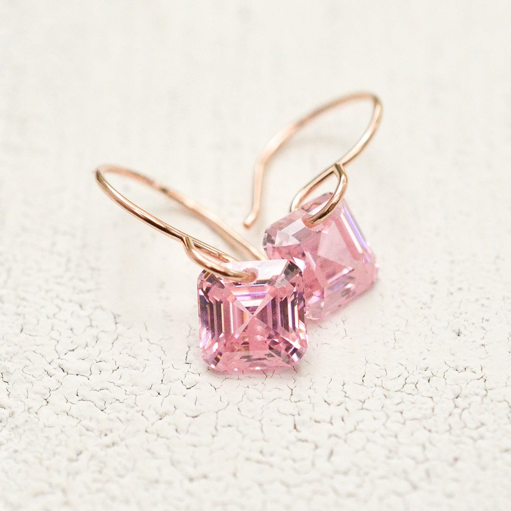 Image of Asscher cut pink cubic zirconia earrings