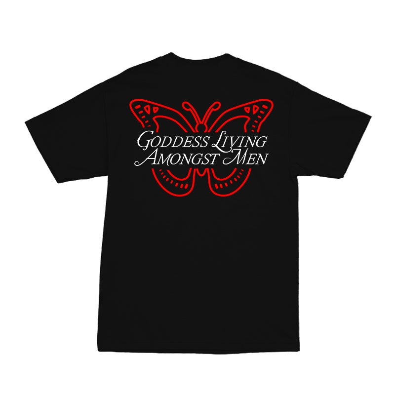 Image of GODDESS BUTTERFLY WORLD BLACK TEE | EXCLUSIVE GODDESS SUMMER COLLECTION