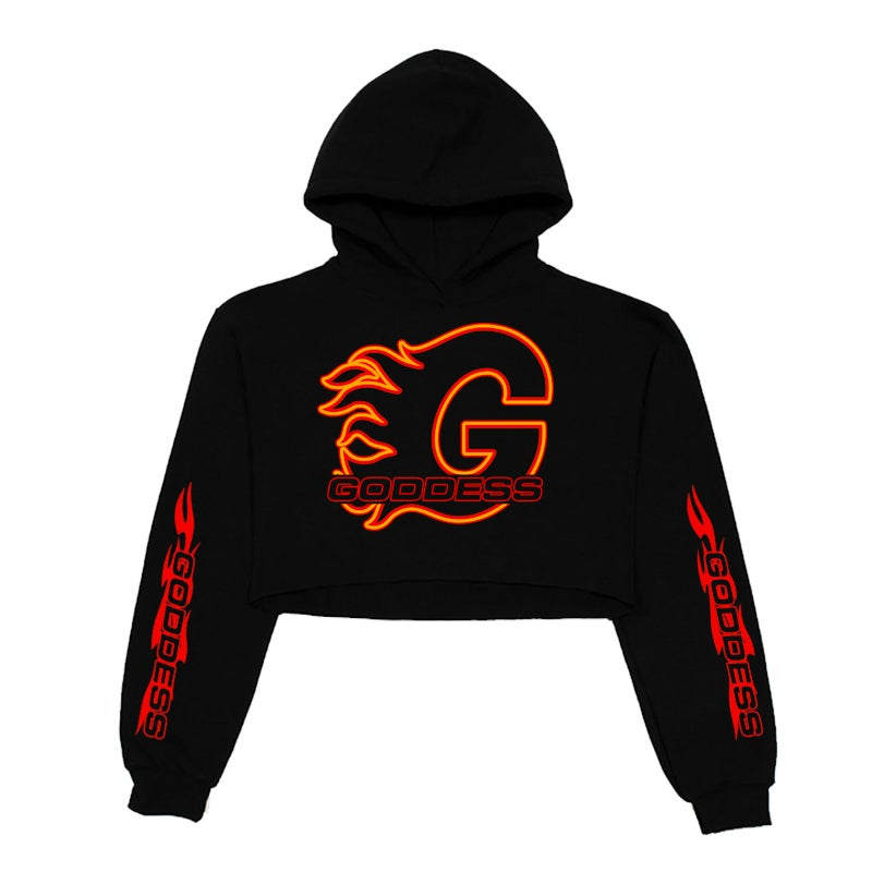 Image of GODDESS ON FIRE CROPPED TOP HOODIE | EXCLUSIVE GODDESS SUMMER COLLECTION