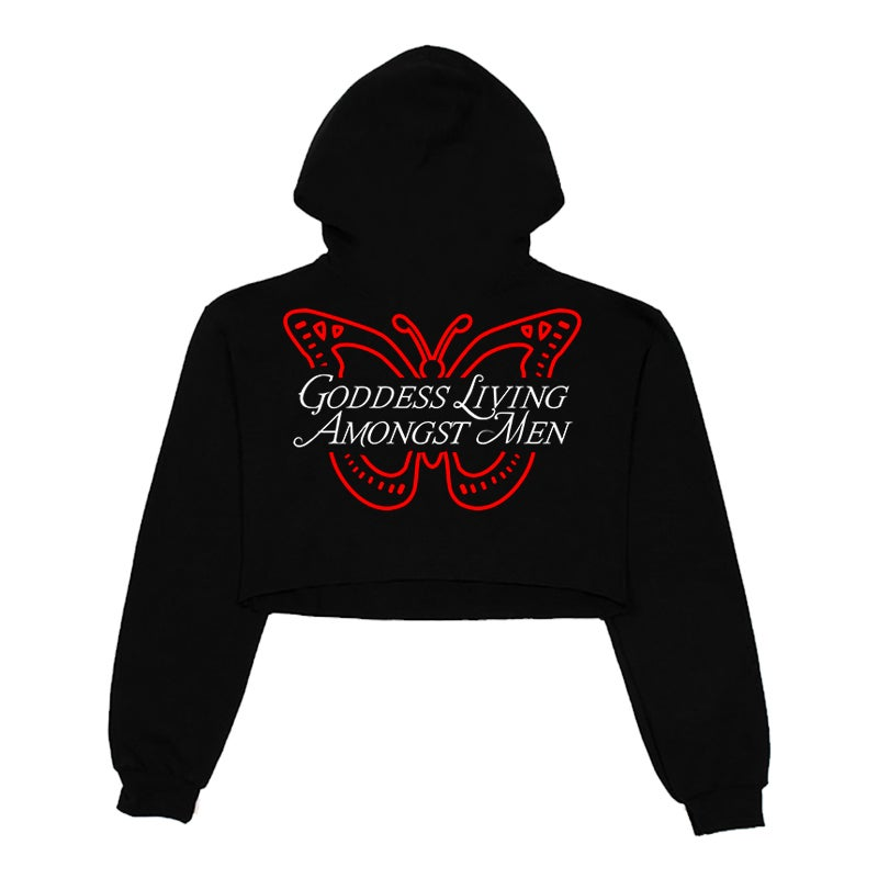 Image of GODDESS BUTTERFLY WORLD CROPPED TOP HOODIE | EXCLUSIVE GODDESS SUMMER COLLECTION