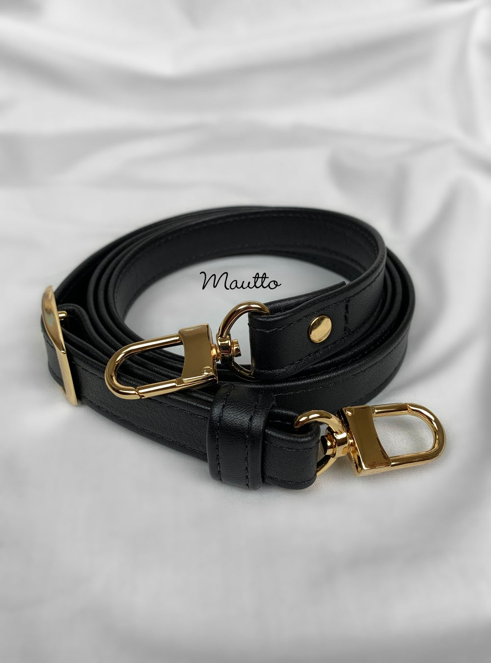 "Image of Black Leather Strap for Louis Vuitton (LV) Speedy, etc - 3/4"" Wide - Top Handle to Crossbody Lengths"