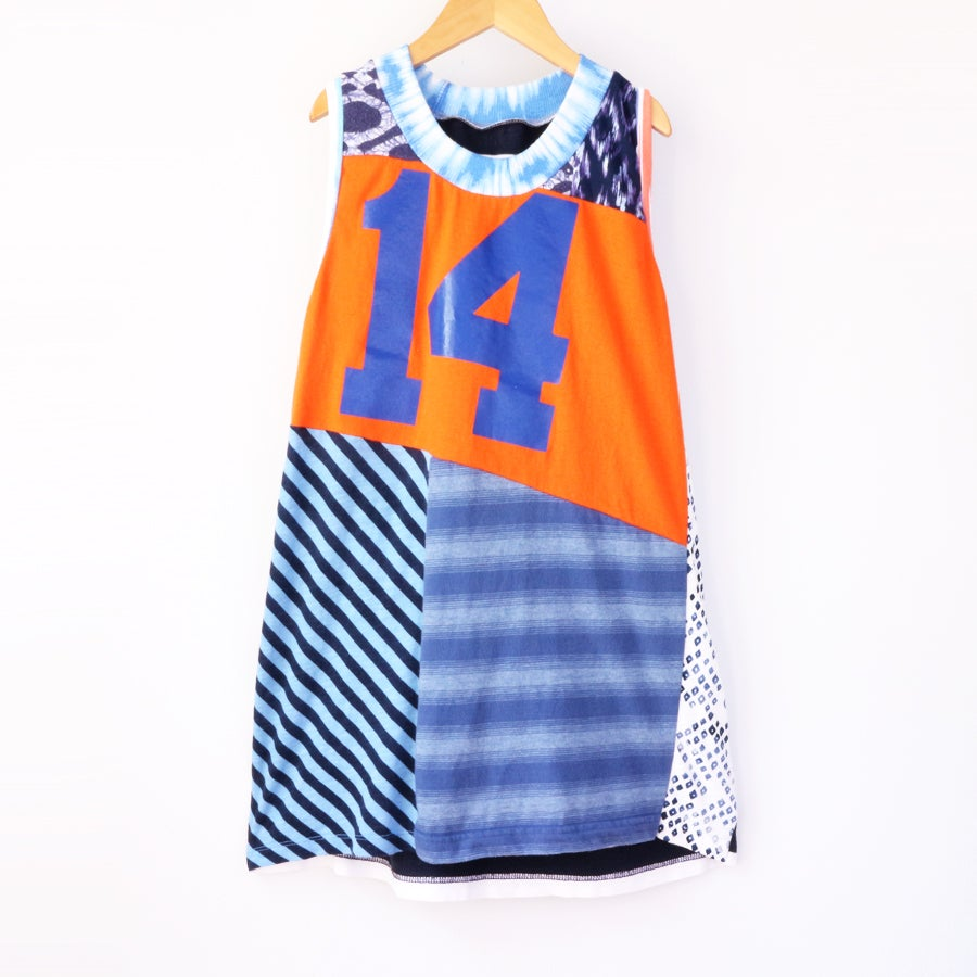 Image of this is fourteen orange size 14 14th teen sleeveless teenager birthday bday tank top shirt