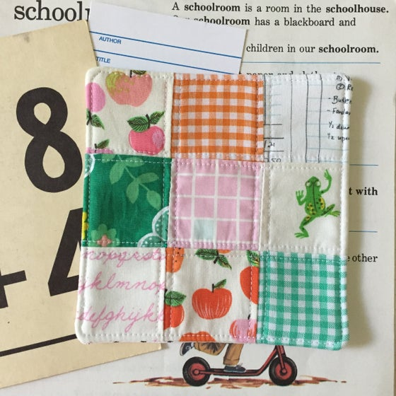 """Image of """"I Heart School"""" Patchwork Quilted Coaster"""