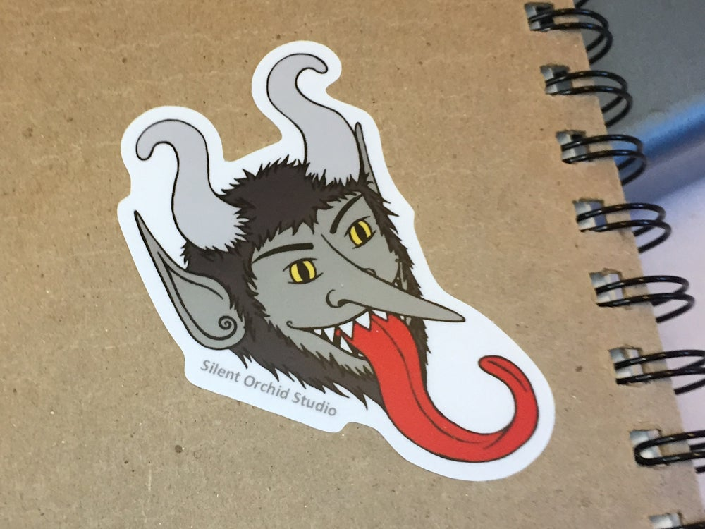 Image of Krampus die cut sticker