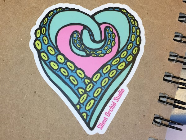 Image of Tentacle Heart die cut sticker