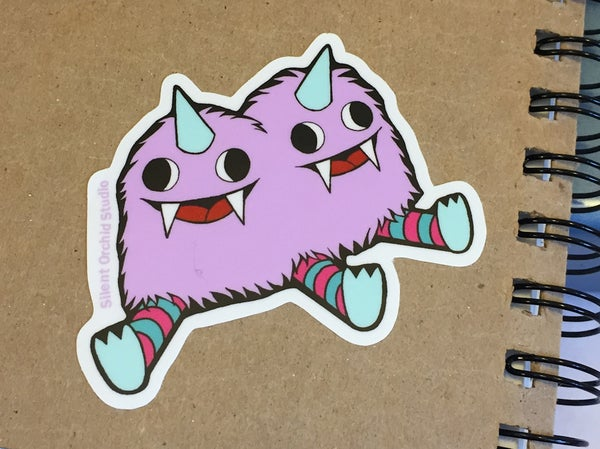 Image of Conjoined Twin Monsters die cut sticker