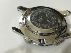 Image of STUNNING RICOH WORLD TIMER SPORTS GENTS WATCH CASE SET,NEW.BLACK/BLUE DIAL.