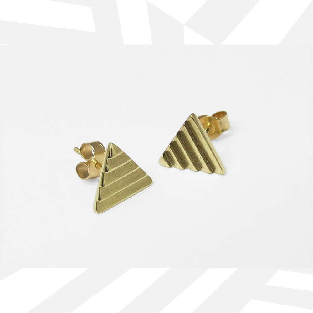Image of Mono Delta Ear Studs - 18ct Yellow Gold - made to order