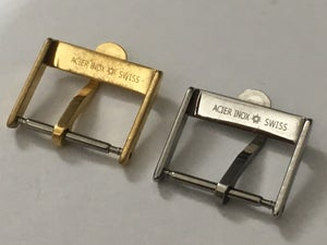 Image of VINTAGE OMEGA 16MM/18MM WATCH STRAP BUCKLES-2 X COLORS,USED,CLEAN.RARE MODEL.GENUINE