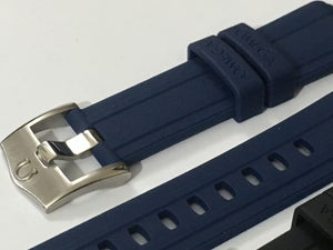 Image of OMEGA RUBBER SPORTS WATCH STRAP,BLACK / BLUE,20MM,CURVED LUGS,NEW