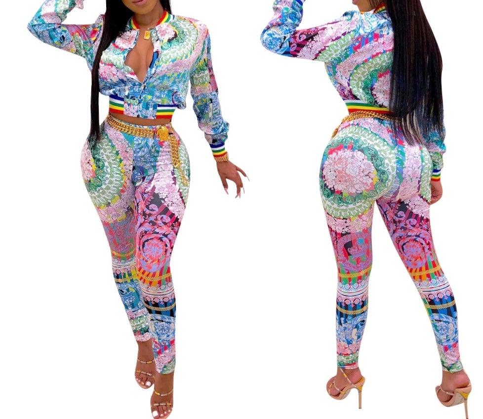 "Image of ""Floral Rainbow"" Jogger Set"