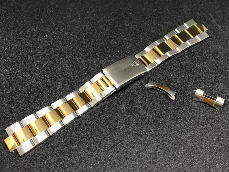 Image of ROLEX OYSTER 2/TONE DATE JUST GENTS WATCH STRAP.-19MM--NEW