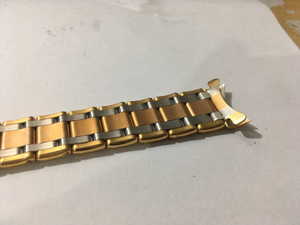 Image of Stunning Rolex Slim 3/tone,rose/yellow/s/steel 20mm Solid Gents Watch Strap,