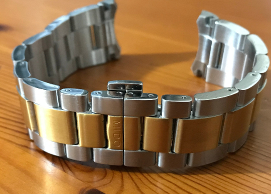 Image of MIDO 22mm Curved Lugs, 2/Tone Yellow Gold Gents WATCH STRAP