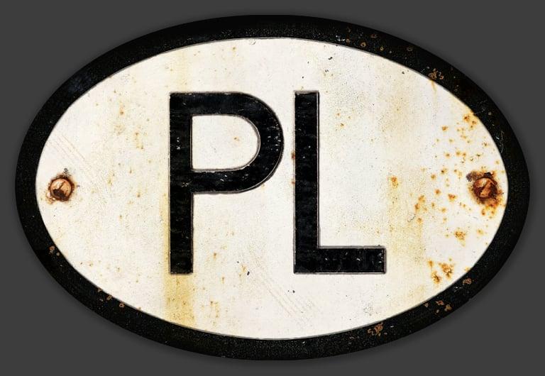 Image of Magnetic Poland 'PL' Badge, Standard 180x120mm