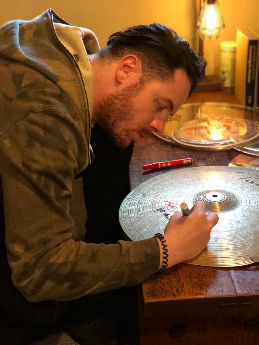 Image of Signed Drum Skin & Cymbals