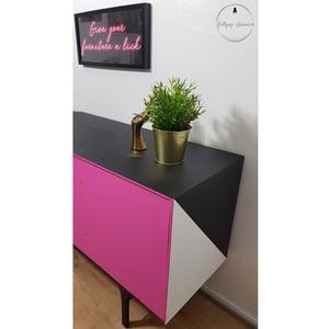 Image of Milwood teak sideboard in black and white