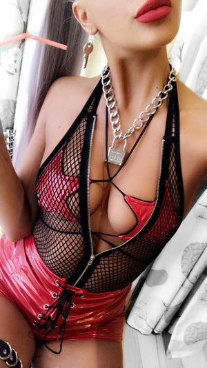 Image of Fishnet zip bodysuit