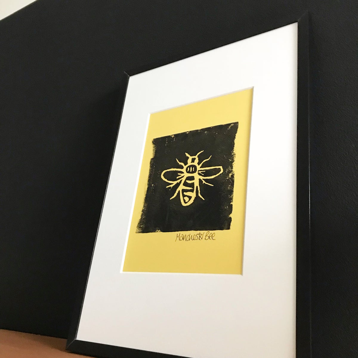 Image of Manchester Bee Lino Print - Framed