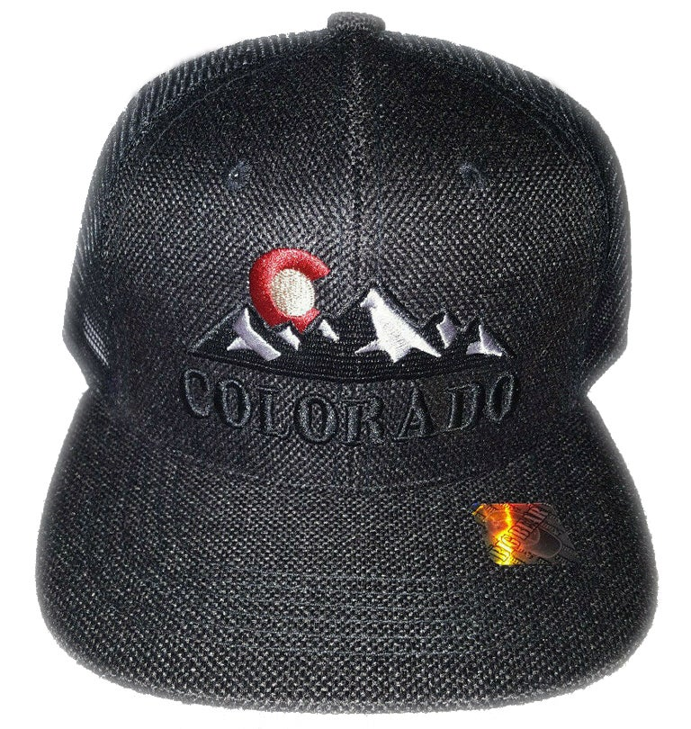 Image of COLORADO STATE LOGO ROCKY MOUNTAIN BLACK MESHBACK SNAPBACK HAT
