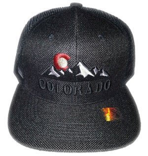 Image of COLORADO ROCKY MOUNTAIN STATE LOGO BLACK MESH BACK SNAP BACK HAT