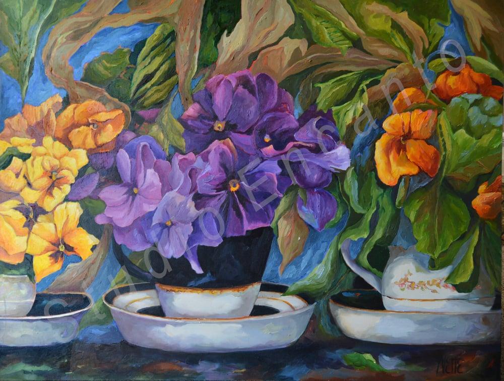Image of Pansies and Teacups by Yvette Galliher