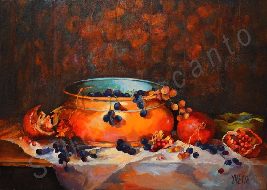 Image of Pomagranates and Grapes by Yvette Galliher