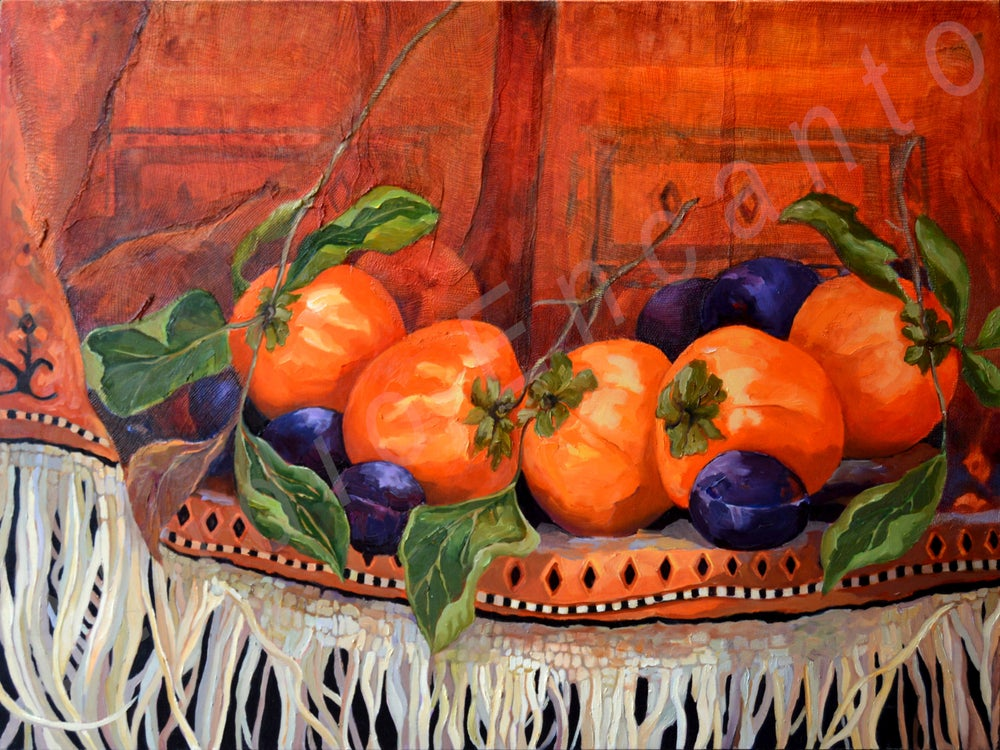Image of Persimons and Plums by Yvette Galliher