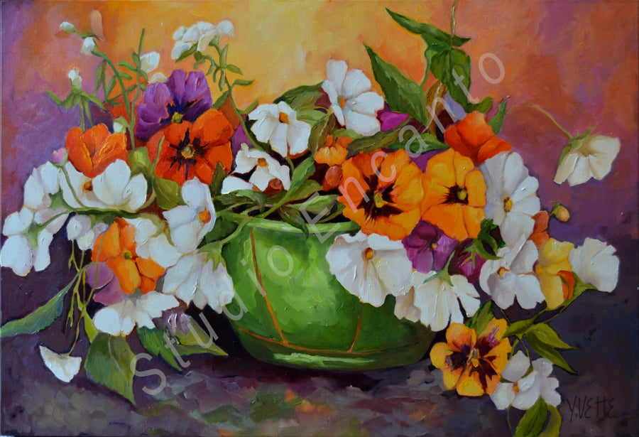 Image of Pansies and Green Container by Yvette Galliher