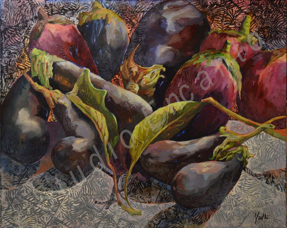Image of Eggplants and Print by Yvette Galliher