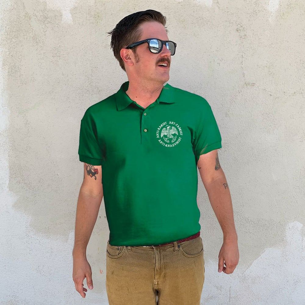 """Image of """"Green Shirt Gang"""" - White ink on Green Polo"""