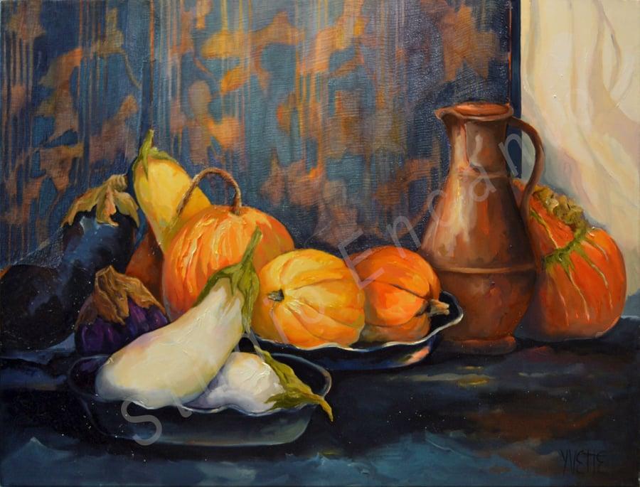 Image of Pumpkins, Eggplants & Copper Vase by Yvette Galliher