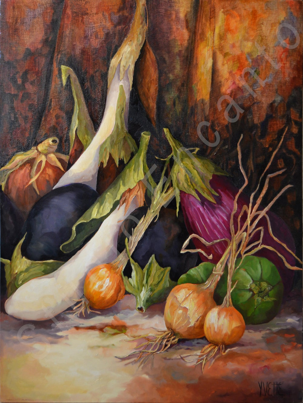 Image of Eggplants, Green Peppers Tapestry by Yvette Galliher