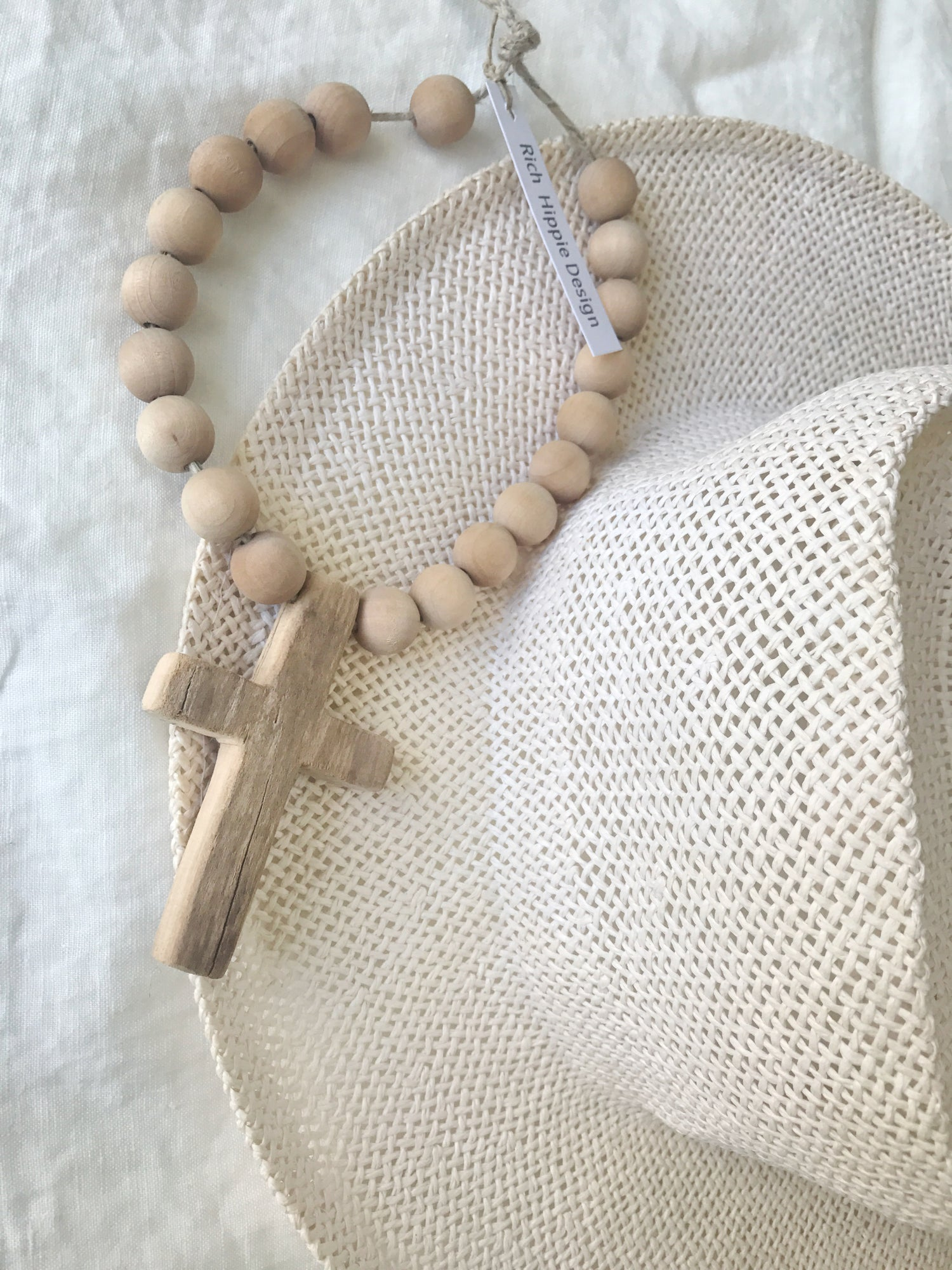 Image of Extra Mini Short Love Beads - Dried Palm with Cross