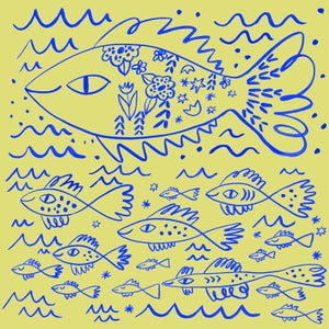 Image of Aquatic Life, Tea Towel, Yellow