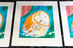 Image of Owls in Nest 2 - Woooo! screen print