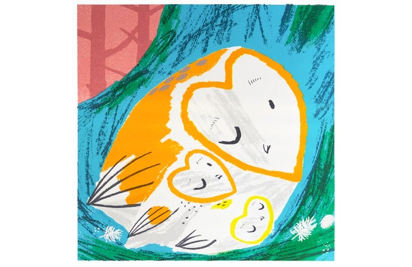 Image of Owls in Nest 2 - Woooo! screen print