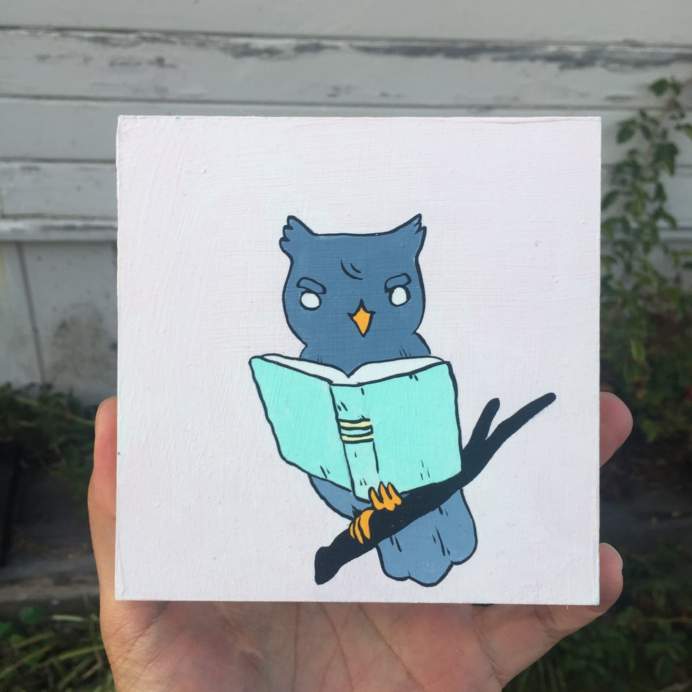 Image of Owl Reading Book Painting